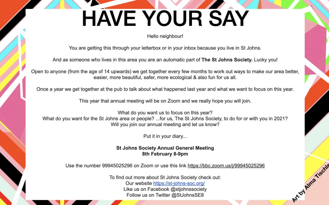 The St Johns Society Annual General Meeting 8th February 2021
