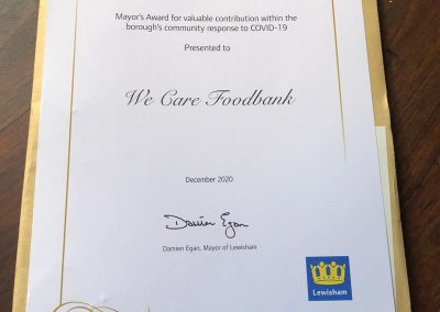 Award received by Kath's Place / We Care Foodbank